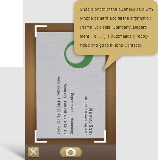 Samcard professional business card reader be sure to position the mobile on the top of the visiting card at parallel level free trial of samcard lite free to evaluate recognition performance reheart Gallery